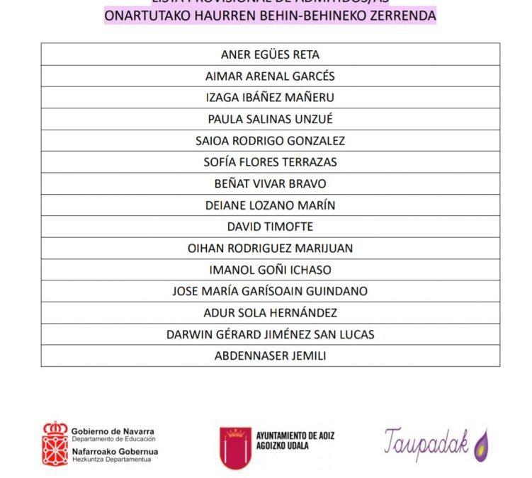 ONARTUTAKO HAURREN BEHIN-BEHINEKO ZERRENDA (2021-2022 IKASTURTEA)